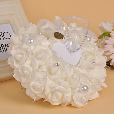 1pc Wedding Ceremony Crystal Rose Flower Gift Bow Ring Bearer Pillow Cushion Hot