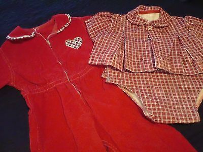 Lot of 3 VINTAGE 50's 60's~Girl's Clothes~BABY Toddler~corduroy one pc Christmas