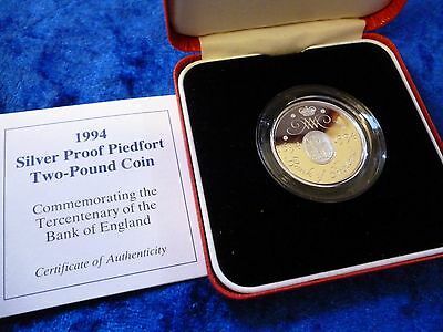 Royal Mint Silver Proof PIEDFORT £2 Two Pounds 1994 Bank of England + Case & COA