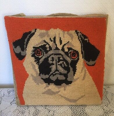 Needlepoint Pug Dog Picture On Wood Cute Pug Wool Needlework Adorable