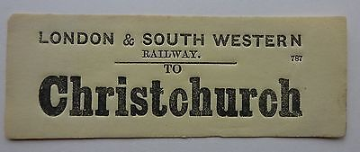 Yellow London & South Western Railway Luggage Label To Christchurch