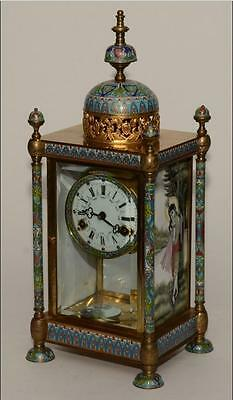 Stunning French Cloisonne Enamel Mantle Chime Clock (51 cm High)
