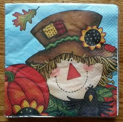 "16 ct 2 ply Paper Party Lunch Napkins 13"" ~ Autumn Fall Scarecrow Pumpkin Crow"