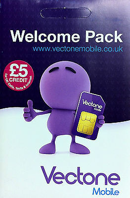 vectone mobile pay as you go sim card with £5 Free Credit -- official pack
