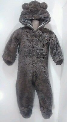 One-Piece Brown Teddy Bear Footed Body Jacket Baby Boys 9m Soft Warm Winter