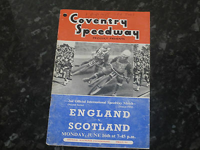 England v Scotland Speedway International Programme @ Coventry - Dated 1952