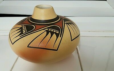 Vintage  native American pottery  vase signed
