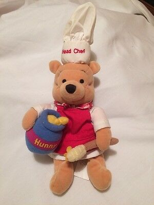 """DISNEY,""""Chef Pooh""""- Winnie the Pooh- Collectable EDITION BEANIE SOFT Toy"""