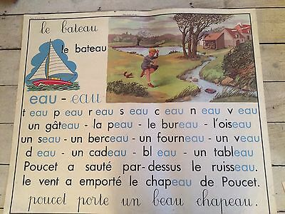 """Double Sided Vintage French School Poster  Sound """"eu"""" And """"eau"""""""