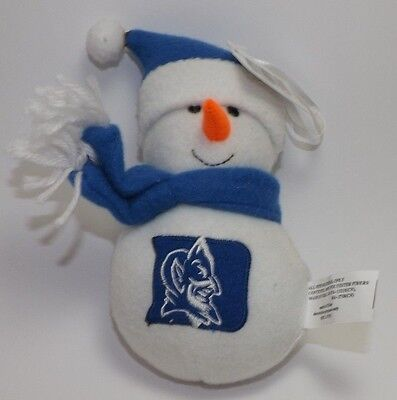 "Duke Blue Devils Plush Embroidered Snowman Christmas Holiday Ornament 6"" Tall"