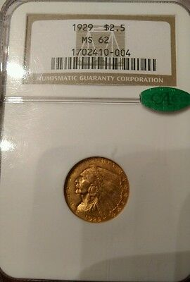 1929 $2.5 Gold Indian NGC MS 62, with CAC sticker.