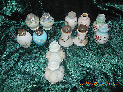 6 Pairs of art glass antique shakers salt and pepper