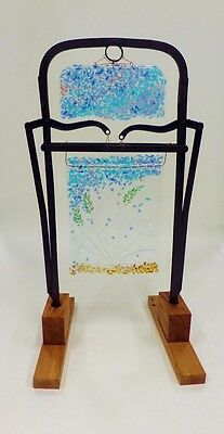Vintage Cast Iron Hay Trolley Fork Bas Relief Fused Glass Scene Reclaimed Wood