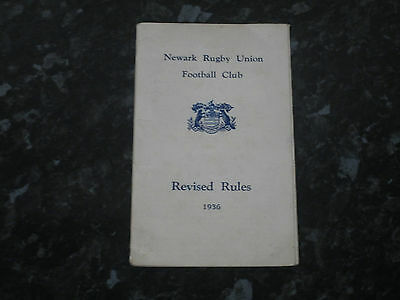 1936 Newark Rugby Club Rugby Union Revised Rules Booklet