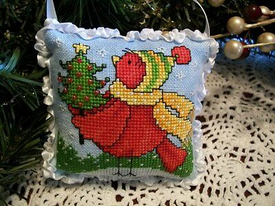 "Finished, Christmas orna., sm. pillow, ""Christmas Tweet #1, redbird w/tree"