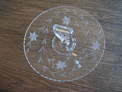 Vintage etched Glass round serving plate with handle