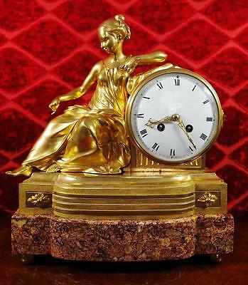 Antique 19th c French gilt bronze & Marble Figural 8 day bell Mantle Clock