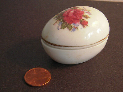 Small Vintage EASTER EGG trinket box with lid - China with gilt trim