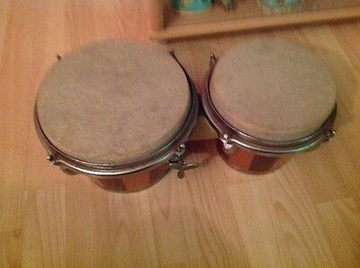 Natural Wooden Bongo Set With Key
