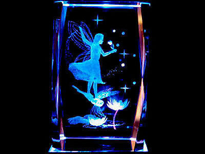 3D Laser Etched Crystal Fairy on Dragonfly + Light Base