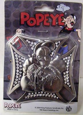 Popeye The Sailor Man Iron Cross Style Bling Metal Belt Buckle Mint Nrfb
