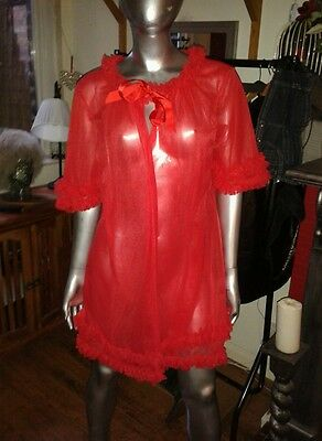 Vintage 70s Lipstick Red Sheer Baby Doll Dressing Gown