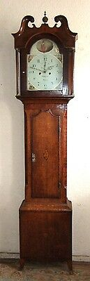 Georgian Oak, Mahogany & inlaid Antique Lincolnshire Longcase Grandfather Clock