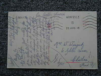 Ww1 Censor Postcard Sent To Globe Lane , Chatham , Kent In 1916