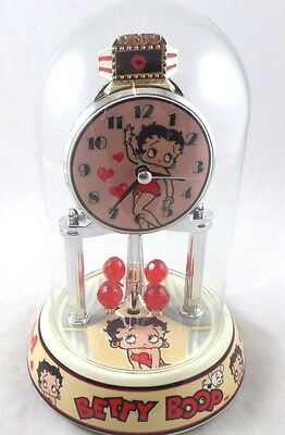 "Bertty Boop Anniversary Clock Glass Dome 9"" Tall 2014 Quartz Movement No Box"
