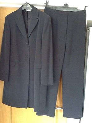 Ladies Next Petrol Blue 2 Piece Trousers And Jacket Size 12