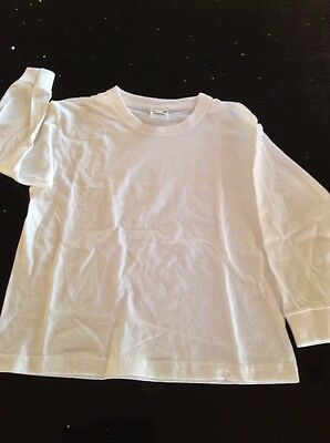 Boys White Long Sleeve Tshirt Top Age 3-4 Years New