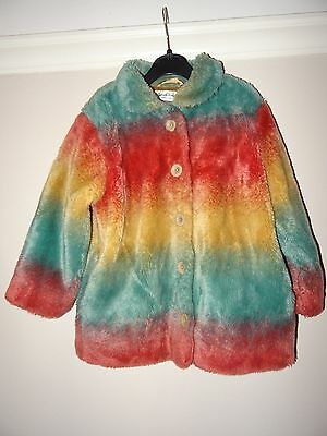 Beautiful Sarah Louise Multi-Coloured Faux Fur Winter Coat - Age 4