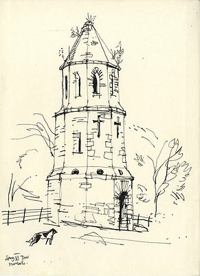 Paul Sharp - Mid 20th Century Pen and Ink Drawing, Tower