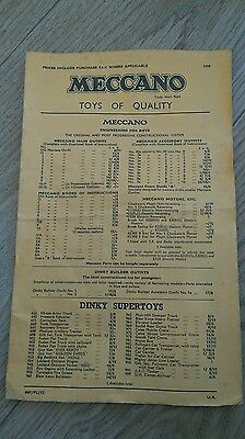 Dinky/meccano/hornby Toy Catalogue P/lists 1958 Uk Edition