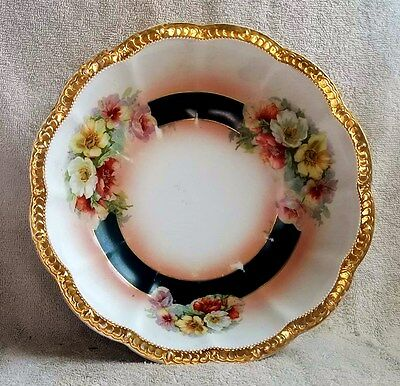Antique Large American Ceramic Berry Bowl Wild Roses Decorated w/Gold