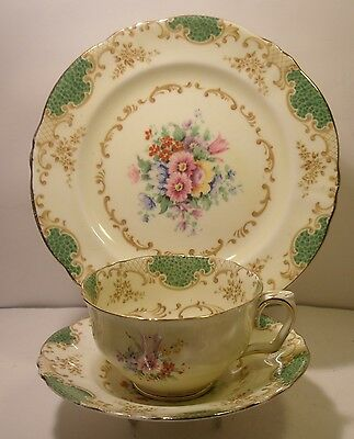 Beautiful Crown Staffordshire Hand Painted Trio,Side Plate, Cup And Saucer