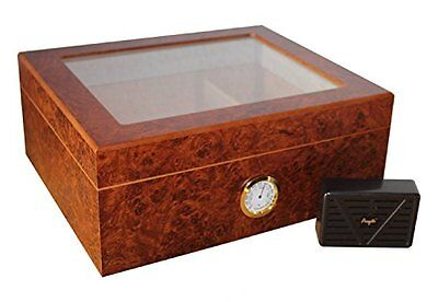 Humidor for 25 Cigars with Transparent Lid and Exterior Hygrometer, Brown