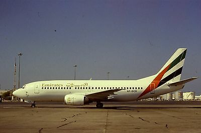 RARE 35mm Colour Slide of Emirates (leased from PIA) Boeing 737-300 AP-BCD