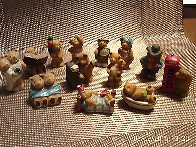 Collection of miniature teddy bear ornaments