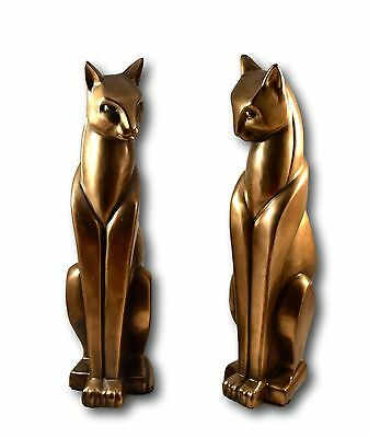Art Deco Bronze Cats Pair Stylised Standing Ornament Or Bronze Book Ends