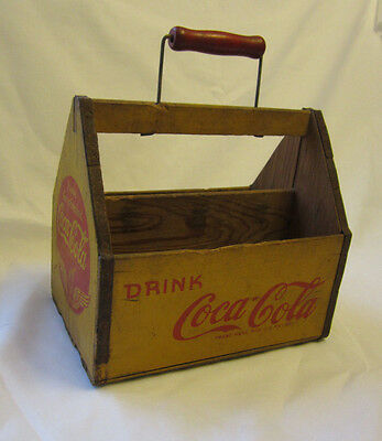 Vintage Drink Coca Cola Coke 6 Pack Wood Carrier Tote Wings Yellow Red w/Handle