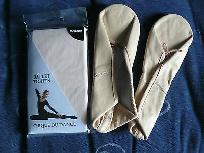 NEW - Roch Valley Pink Leather Ballet Shoes 6 or 6.5 & Tights Medium  - Free P&P