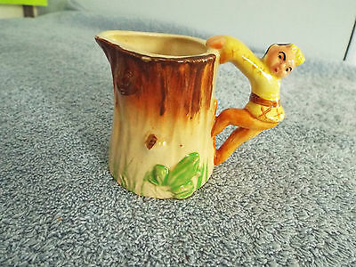 Vintage Small Jug - Native America Indian Character Handle, Tree Stump with Frog