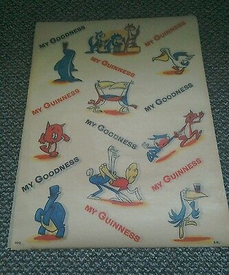 Original Old Guinness  'Paper Wrap' Advertising item-Cartoon band  X 5 SHEETS