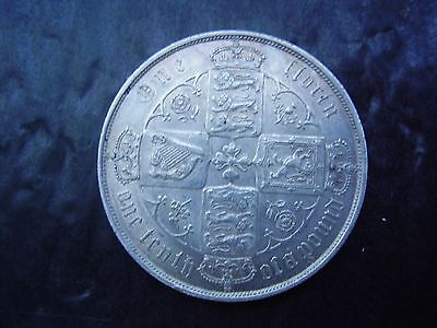 victoria 1874 choice gothic silver florin- low mintage, scarce a/unc.
