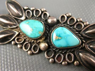 Old Pawn Navajo Hand Made Sterling Repousse Blue Royston Turquoise Brooch