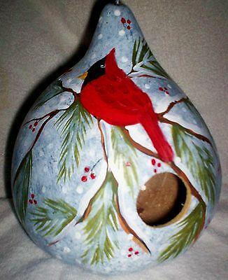 Cardinal, Berries, Pine, Snow Scene Hand Painted gourd Birdhouse Christmas Gift