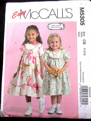 5305 MCCALLS Toddlers RUFFLES AND LACE Dress Pockets Pattern UC 1-3