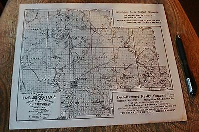 1921 Medford WI Langlade County Antique Advertising Map