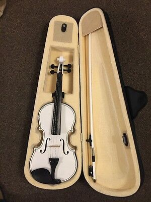 Full Size 4/4 White Violin With Bow & Case